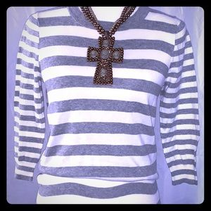 J. Crew size small gray and white striped sweater